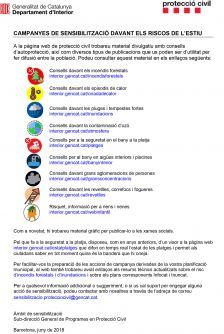 informació campanya sensibilització riscos de l'estiu